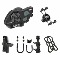 Lexin FT4 Bluetooth Headset RAM Mounts Combo